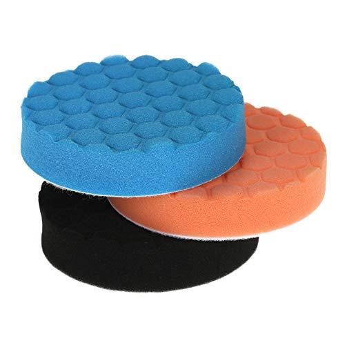 KKmoon 3PCS 125mm 5 Inch Polierschwamm Pads Wolle Polierpad Set für Poliermaschine Auto Möbel Reinigung Sauber Machen Polieren Schleifen Wachsen Orange Blau Schwarz