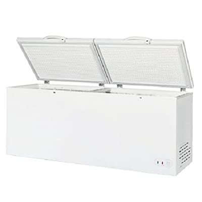 "Maxx Cold 78.75"" Wide Solid Hinged Split Top Commercial Sub Zero Chest Freezer Locking Lid NSF Garage Ready Keeps Food Frozen for 2 Days in Case of Power Outage, 23.6 Cubic Feet 669 Liter, White"