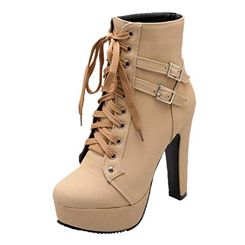 MISSUIT Damen Schnür Plateau Stiefeletten High Heels mit Schnürung und Blockabsatz Ankle Boots Kurzschaft Stiefel(Beige,40)