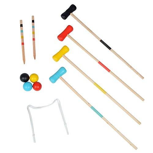 Ocean5 Krocket Set – Outdoor Croquet Gartenspiel, das Geschicklichkeitsspiel aus Holz, für Kinder und Erwachsene, für 2-4 Spieler