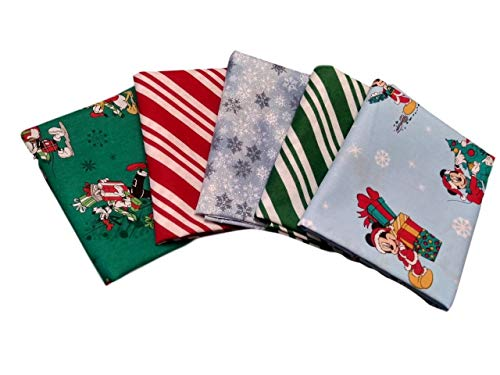 Fat Quarter Bundle Set 5 Disney Mickey Pluto Donald Goofy Holiday Christmas Fabric