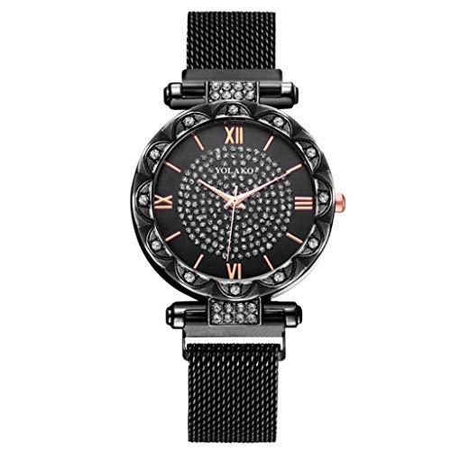 Uhr Armbanduhren Männer Damenuhren Hansee Luxuriös Diamant Gypsophila Hochwertiger Magnetit Frauen Analog Quarz Uhren Wrist Watches(Schwarz)