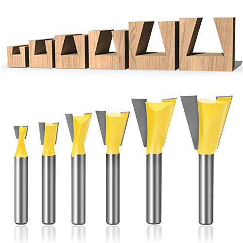 Meihejia 1/4 Inch Shank Dovetail Router Bit Set - 6 Sizes