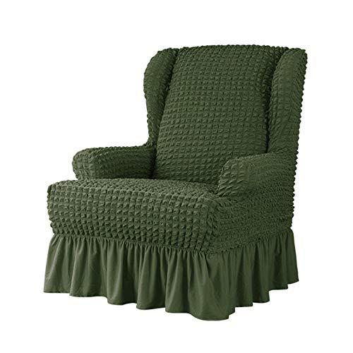 VanderHOME Stretch Sesselbezug mit Rüschen Ohrensessel husse Sessel-Überwürfe Ohrensessel Überzug Sofabezug Stretchbezug Stretchhusse Sofabezug Moderne Grün