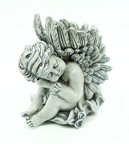 Bambelaa! Grabdeko Trauerengel Mit Kerzenhalter Grabengel Grabschmuck Grab-Deko Engel Steinharz Ca. 14 x 9 x 15 cm Grau