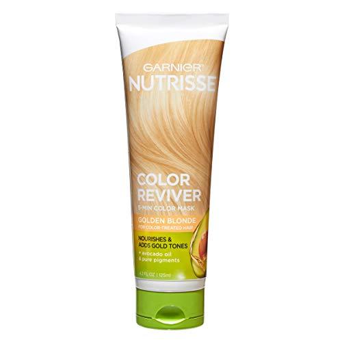 Garnier Nutrisse 5 Minute Nourishing Color Hair Mask with Triple Oils Delivers Day 1 Color Results, for Color Treated Hair, Golden Blonde, 4.2 Fl Oz
