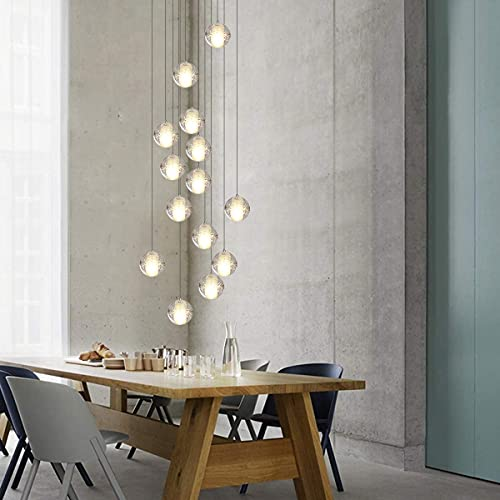 14 Lights Chandeliers 118' High Ceiling Crystal Chandeliers Light Fixtures Bubble Crystal Raindrop...