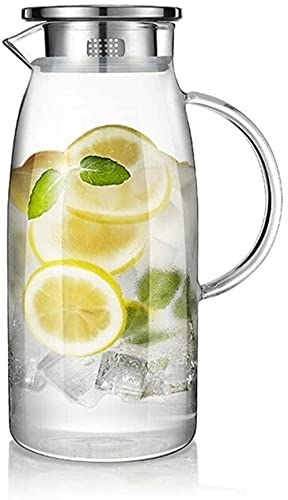 Teapot Glass Carafe with Stainless Steel Lid Carafe with Fruit Insert Dishwasher Safe Glass Jug Water Pitcher Suitable for Flower Tea/Drink Coffee (Size : 1500ml) Song (Size : 1500ml)