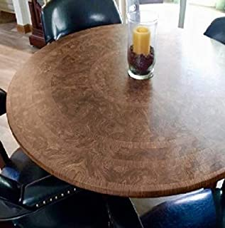 Table Cloth Round Elastic Edge Fitted Vinyl Table Cover - Fits Round Tables 36 Inch To 48 Inches - Cherry Wood Pattern Brown Tan