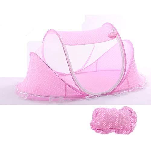 YCX Faltbare Baby-Krippe Mit Moskitonetz, Baby-Reisebett Für 0-3 Jahre Neue Baby Moskitonetz Baby Auto Volle Abdeckung Verschlüsselt,Rosa