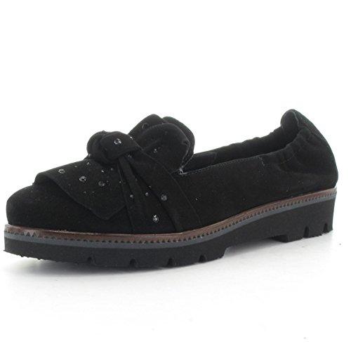MARIPE 25571-160644 Slipper mit markanter Gummisohle - Obermaterial Velourleder schwarz - Lederfutter -Made in Italy