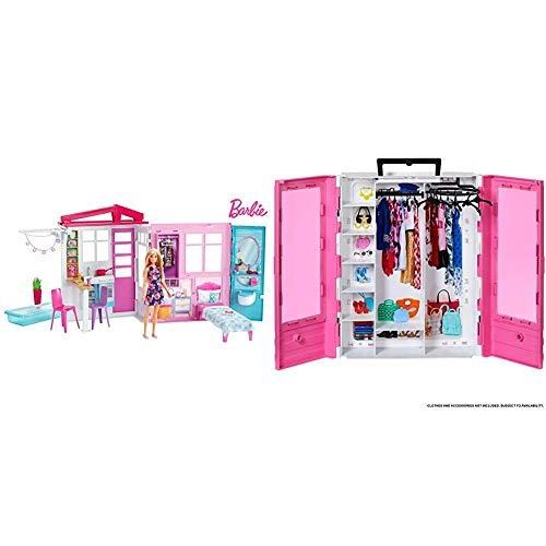 Barbie - Casa amueblada pleglable con Cocina, Piscina, Dormitorio y Lavabo con muñeca Rubia (Mattel FXG55), Embalaje estándar + Fashionista Armario Portable para Ropa y Accesorios de Muñecas