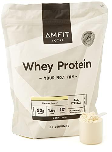 Amazon-Marke: Amfit Nutrition Molkeproteinpulver 1kg - Banane (ehemals PBN)