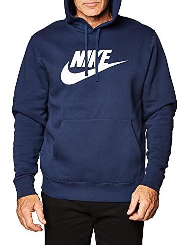 Nike Men's Sportswear Club Fleece Hoodie (L, Midnight Navy/White)
