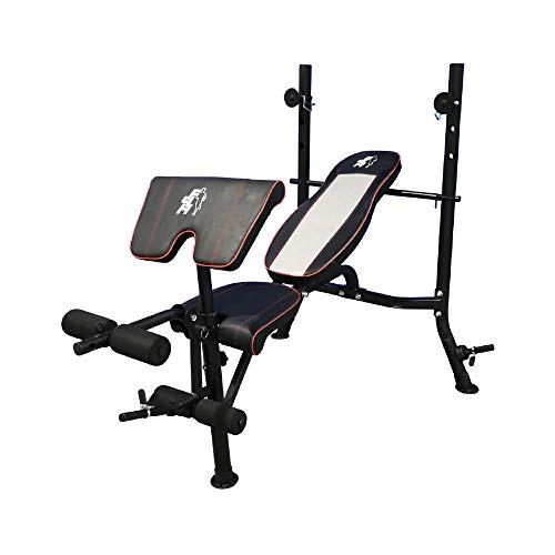 Fit4home Weights Bench With Barbell Rack | Adjustable Home Training Gym Workout Fitness Bench | TF-1001A1 Black