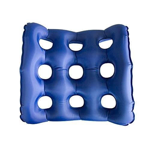 Mobiclinic, AIR-02, Cojín ortopédico, Cojín cuadrado hinchable para hemorroides, Asiento ortopédico para próstata, embarazo, postoperatorios, alivio del dolor de ciática, Con Bomba de aire y Hueco