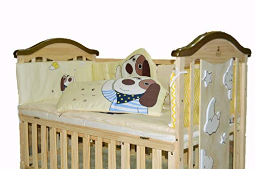 BabyTeddy 9 in 1 Convertible Bruno-The Dog Baby Crib Wooden Cot Bed Swing Desk with 6 Pc Sofa Cotton Set and Mosquito Net