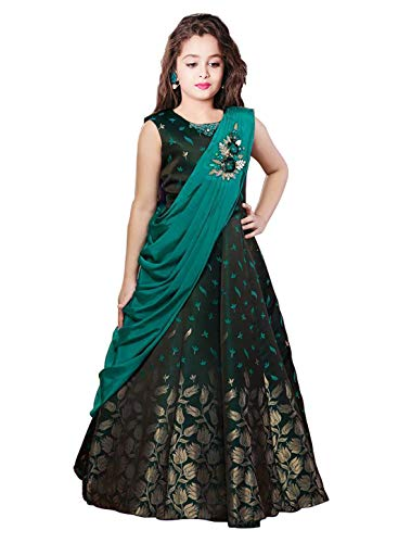 White Button New Green Jacquard partywerar Gown for Girls' Maxi Dress (5-6 Years)