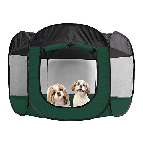 Furhaven Pet Playpen - Indoor-Outdoor Mesh Open-Air Playpen and Exercise Pen Tent House Playground for Dogs and Cats, Hunter Green, Extra Large