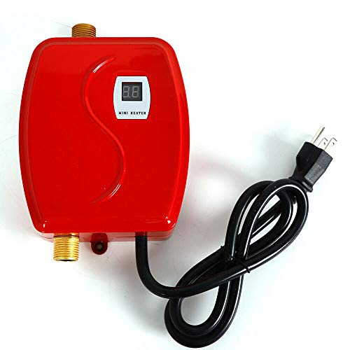 Instant Electric Tankless Hot Water Heater 110V 3800W Mini Shower Kitchen Bath for Home Kitchen RED