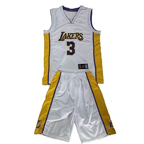 HBCC # 3 Anthony Davis Lakers, camiseta para niños y niñas, edición de fanático, juego de chaleco de baloncesto Swingman bordado con cuello en V blanco-S