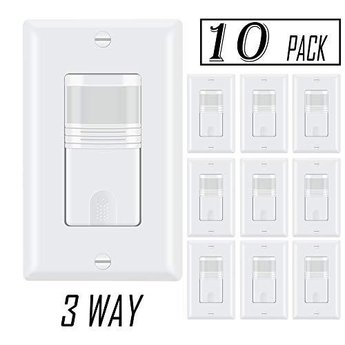 ECOELER Pack of 10, 3 Way Motion Sensor Light Switch, Multi-Dual Pir Occupancy Sensor for Indoor Use