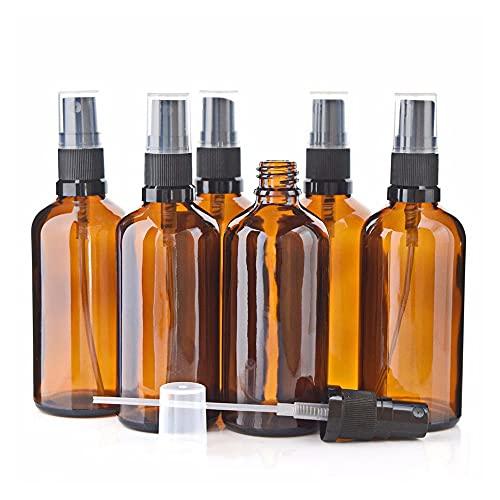 Coviya 6Pcs 100ML Botellas de aerosol de niebla de vidrio ámbar vacías Contenedores de vidrio recargables Pulverizador de niebla fina
