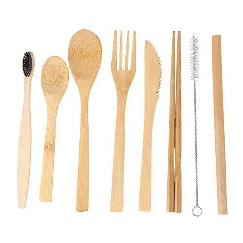 Volcanoo Paquete de 2 Utensilios de Bambú con Bono 2 Cepillos de Dientes Pajita de Bambú, Cuchara, Tenedor, Cuchillo, Cucharita, Palillos, Cepillo y 2 Bolsas de Almacenamiento Verde
