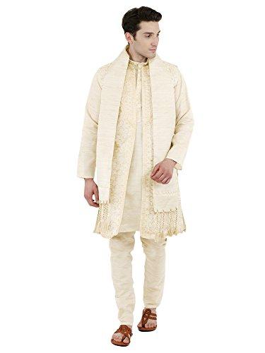 SKAVIJ Herren Besticktes Kurta Pyjama Jacke und Stola Hochzeitsfeier Kleid Set (Weiß, XL)