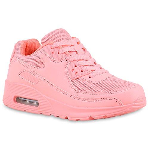 stiefelparadies Damen Sport Lack Sneakers Schnürer Sneaker Low Lauf Runners Neon Leder-Optik CamouflageGlitzer Schuhe 133182 Hellpink 37 Flandell