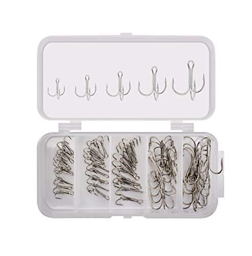 Fishing Hook Treble Hooks High Carbon Treble Hooks Super Sharp Solid 50pcs/Box Mixed 5 Size 2 4 6 8...