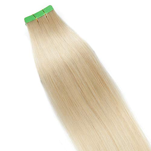SEGO Extension Adhesive Cheveux Naturels Bande Tape In Extension- 50 CM 60#Blond Platine [2.5g X 10 pcs] - Adhésif Vrai Humain Invisible Tape In Remy
