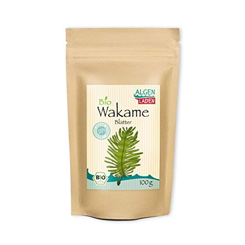ALGENLADEN BIO Wakame Blätter - 100g | Undaria pinnatifida | Instant Algen aus dem Atlantik | Rohkost | Vegan | passt zu Misosuppe