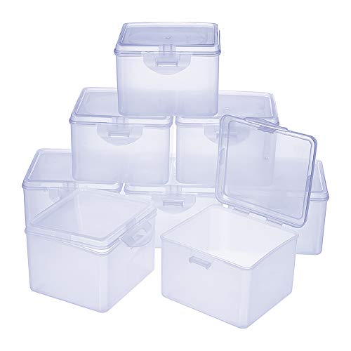 PH PandaHall 8 pcs 3.9 x 3.7 x 2.8 Inch Clear Plastic Beading Storage Container Box, Rectangle Boxes with Hinged Lid for Beads Jewelry Nail Art Small Items Craft Findings