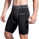 AMZSPORT Pantaloncini a Compressione Uomo Corsa Pantaloni Corta Ciclismo Baselayer Shorts Nero L