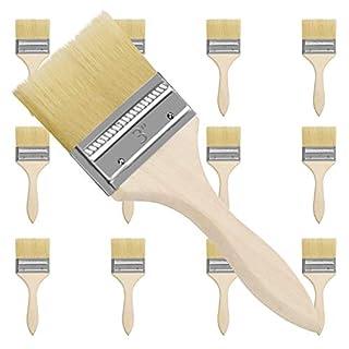scheda kurtzy set pennelli pittura professionali da 21 cm (12pz) - testa da 76,2mm - set pennello pittura con manico legno per pittura a trucioli, silicone, gesso, colorazione e colle - pennelli pittura muri