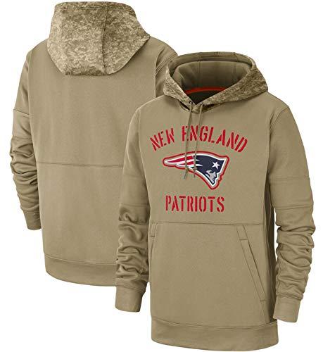 XYEQX Herren Rugby Hooded Patriots, American Football Hooded Jersey Logo Sweatshirt Langarm Hoodies Pullover Jacke Sweatshirts-Lightkhaki-M(175-180)