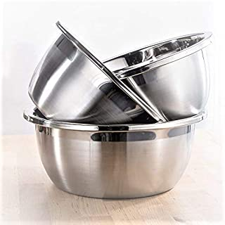 Steel Mixing Bowl set of 3, stainless steel bowls food grade material 304, Serving Bowls