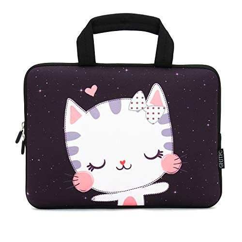 12 Inch Laptop Sleeve Carrying Bag Protective Case Neoprene Sleeve Tote Tablet Cover Notebook Briefcase Bag with Handle for Women Men(Cat,12')