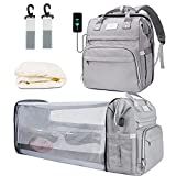 6 in 1 Diaper Bag Backpack with Changing Station, Portable Foldable Baby Bed, Travel Baby Bags with Bassinet Mat, Stroller Hook, Awning, Mosquito Net, Large Capacity Waterproof Mummy Bag
