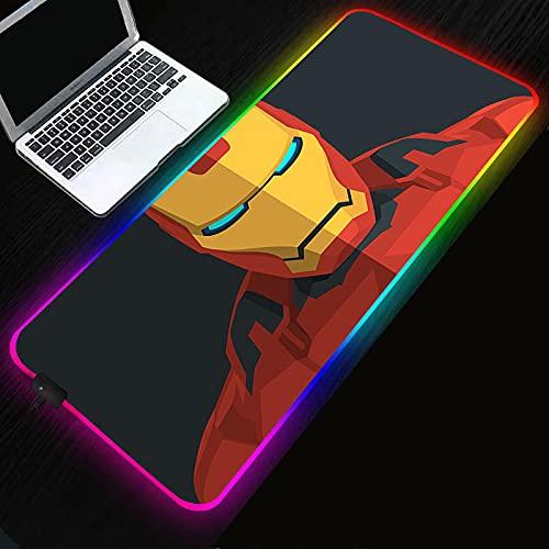 Superhéroe Iron Man RGB alfombrilla de ratón LED grande con cambio de color alfombrilla de ratón-Superhero_Iron_Man_300x600x4mm