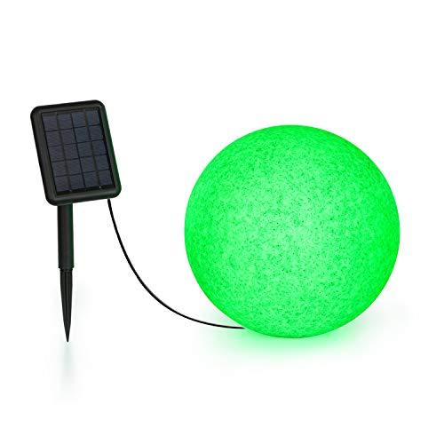 Blumfeldt Shinestone - Solar 30 Kugelleuchte Solarleuchte Außenleuchte Gartenlampe, autark: inkl. Solarpanel mit 2 m Kabel, Größe: Ø 30 cm, LED-Beleuchtung mit 16 Farben, Material: PE, grau meliert