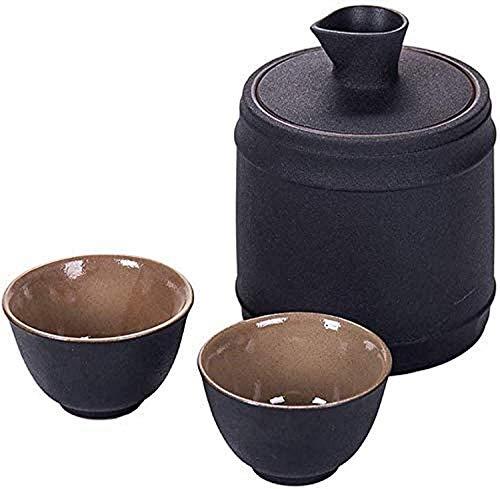 LIRONGXILY Juego de Sake Japones Set de sorteo japonés con Olla de Calentamiento, Copas de Vino de cerámica pintoresca de 4 Piezas para frío/cálido/Shochu/té