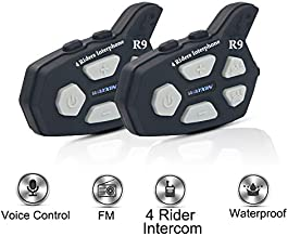 Helmet Intercom Full Duplex Bluetooth Headset Communication System for Motorcycle/Motorbike Rider with FM Radio/Audio GPS Direction(Range-0.9 Mile/Speed-74.5mile/h)