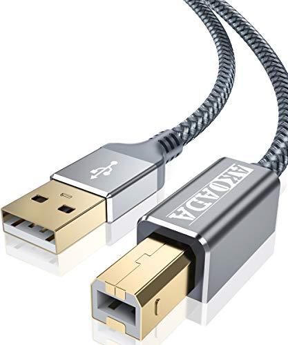 AkoaDa Druckerkabel, Scannerkabel, USB B Kabel, USB A auf USB B Druckerkabel, USB 2.0 Kabel, Printer Cable unterstützt für HP, Canon, Epson, Lexmark, Brother, Samsung, Dell, Vergoldete Kontakte(2m)