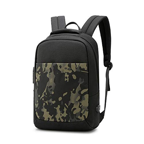 AN-JING Tragbar Bookbag Travel Einbruchsicherer Rucksack Charging Herrenmode Umhängetasche Leisure Computer Bag (Color : Black)