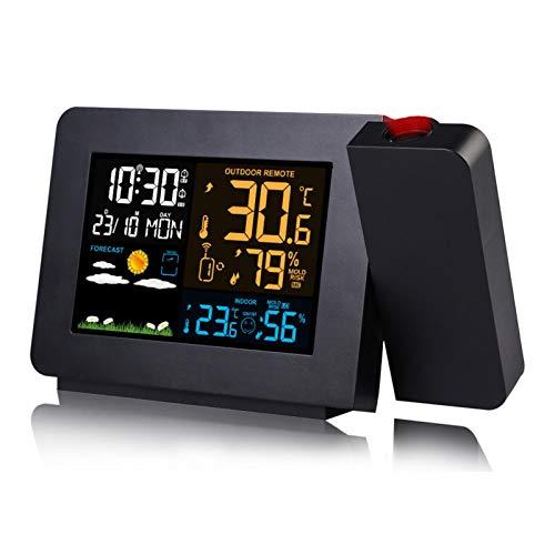 Wangcong Multifunktionaler Projektionswecker,Wetteruhr,elektronische Wettervorhersage-Projektionsuhr mit Farbbildschirm,Innen- und Außentemperatur und Luftfeuchtigkeit