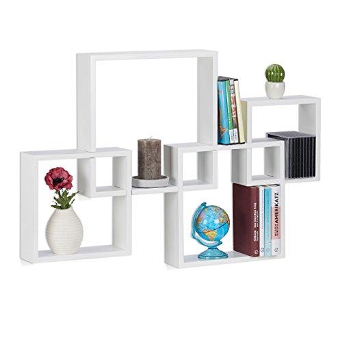 Relaxdays Würfelregal 4er Set, Hängeregal Cube für Wand, freischwebendes Wandboard groß, MDF, HBT: 92x62,5x10cm, weiß