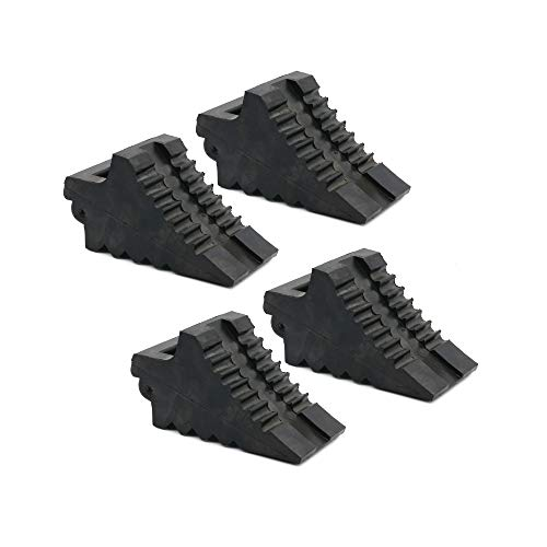 AFA Tooling Chock Blocks (4 Pcs) Rubber Dual Wheel Tire Chocks Front and Back for Camper, Trailer, RV, Truck, Car and ATV - Best Heavy Duty Vehicle Wedge Design with Handle and Garage Grip Bottom