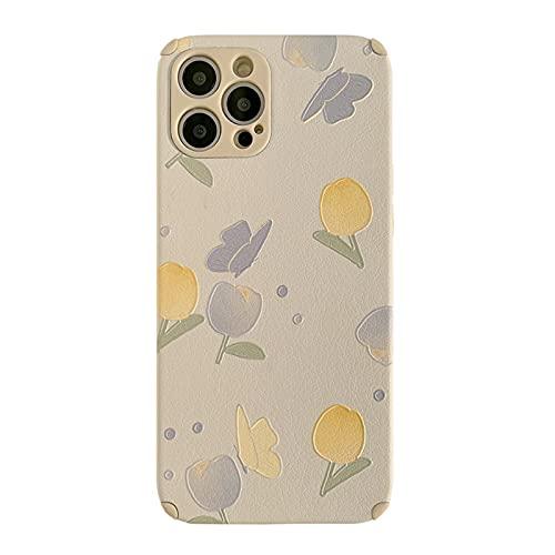 YLFC Custodia per Telefono retrò Dolce Tulipano Fiori Gialli Farfalla Arte per iPhone 11 12 PRO Max XR XS Max 7 8 Plus 7Plus Custodia Cover Morbida Carina (Color : A, Size : for iPhone XS Max)